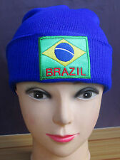 Brazil Brasil National Flag Cute Warm Wool Cap Hat Tuque Winter Knit Beanie Blue