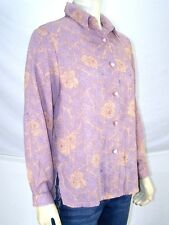 Richness Fashion Purple Floral Long Sleeve Button Front Top Womens Medium 8 10