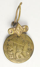 TOKEN MADE INTO EAR RING SHOWING CHINESE MAN IN STOCKS c. 1800s to 1900s 15mm