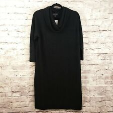 Connected Apparel Sweater Dress Womens 1X Black Cowl Neck 3/4 Sleeve NWT $89