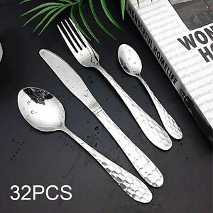 32-Piece Cutlery Set Flatware Stainless Steel Rounded Spoon Edge Dishwasher Safe