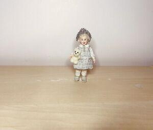 OOAK 12th Dollhouse Polymer clay Miniature Doll Character Girl & Felted Teddy.