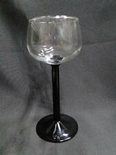 "Cristal D'Arques Domino Signature Black, Clear with Black Stem:Rhine Wine 6 1/2"""