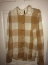 NUDIE JEANS MENS MEDIUM BROWN/WHITE CHECKED LONG SLEEVED CASUAL SHIRT (EX COND)
