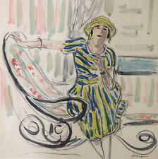 Henri Lebasque (1865-1937) Femme au rocking-chair estampe Le Cannet Champigné