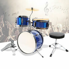 "13"" 3 PCS Complete Junior Drum Set Cymbal Child Kids Kit with Stool Sticks Blue"
