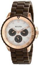 Bulova Women's 98N103 Brown Rubber Wrapped Stainless-Steel Bracelet Watch.