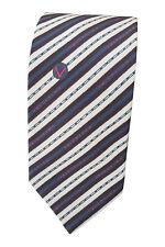 * VALENTINO * MEN'S 100% Silk Grey Blue Brown Stripe Tie (55 L)