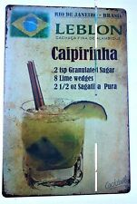 CAIPIRINHA COCKTAIL RECIPE METAL TIN SIGNS vintage cafe pub bar retro