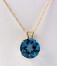 10.30 CTW Natural London Blue Topaz in 14K Solid Yellow Gold Necklace & Pendant