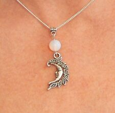 Moonstone & Crescent Moon Pendant Necklace Silver-plated Chain Healing Pagan