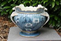Huge Antique French art nouveau ceramic Dragon gothic floral planter Jardiniere