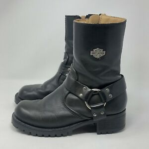 HARLEY-DAVIDSON Black Harness Motorcycle Boots Women's Size 5 (84187)