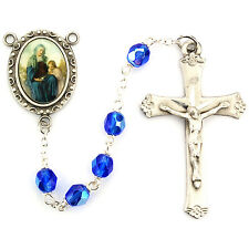 Rosary St Anne Pewter Silver 5 Decade Blue Crystal Beads Vintage Catholic Boxed