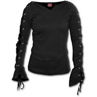 Spiral Direct GOTHIC ELEGANCE - Lace up Sleeve Top Goth/Ladies/Biker/Girls