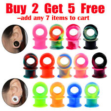 Pair Thick Silicone Flesh Tunnels Ear Gauges Plugs Ear Skin Stretching Piercing