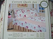 3 PC QUEEN / FULL SET 100% COTTON SHABBY CREAM FLORAL QUILT US SELLER