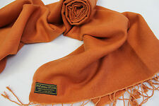 P212  NWT Terracotta Color  Pashmina Silk Shawl/ Wrap Hand Woven In Nepal
