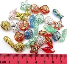 25g (75-80 pcs) mixed childrens fish shell starfish acrylic / plastic beads A14