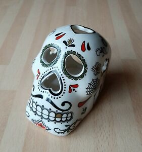 Sugar Skull Tealight Candle Holder Ceramic Art Home Decor Day of the Dead
