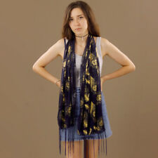 Navy Blue Sheer Scarf Gold Roses and Feathers Pattern Polyester Tassels Shawl