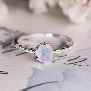 Women 925 Silver Wedding Fashion White Fire Opal Ring Proposal Jewelry Size 6-10