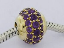 Bd040- GENUINE 9ct Yellow Gold NATURAL Amethyst LARGE Pave Bead Glitterball