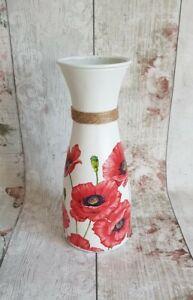 27 cm Poppy Hand decorated Vase/handmade/home decor/flower vase