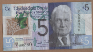CLYDESDALE BANK  £5 NOTE PREFIX  FB/1  580350 FREEPOST RECORDED UK