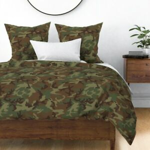 Camouflage Adventure Woodland Camo Nursery Sateen Duvet Cover by Roostery