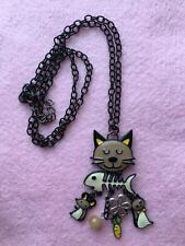 NEW Long Cat Mouse Fishbone Quirky Charm Enamel Necklace Brown Yellow Black