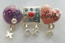 New NANA is Love GRANDMOTHER Rhinestone Brooch Pin Pink Purple XOXO
