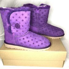 UGG Australia Bailey Button Purple Poke Dot Big Girls 4