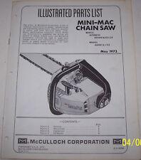 McCULLOCH CHAIN SAW MINI-MAC ORIGINAL OEM ILLUSTRATED PARTS LIST