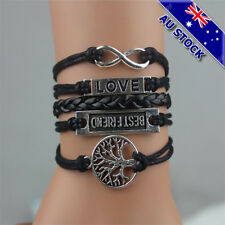 Best Friend Tree Of Life Infinite Love Letter Black Leather Rope Weave Bracelet