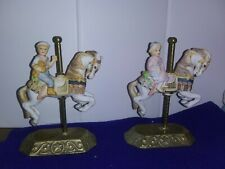 Set/2 Vintage Willitts Carousel Horse Group Ii Firing Numbers 2-3873/2-4601(F33)