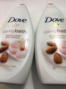 Lot of 2 ~ DOVE Caring Bath ~ Almond Cream w/ Hibiscus ~ 750ml