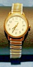 Vintage Timex Easy Reader Women's Watch Indiglo Gold Tone Expansion Band