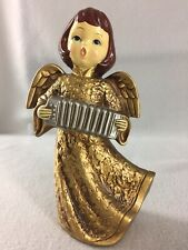 """Vintage Christmas Girl Angel Playing Accordian Gold Robe Paper Mache 8.5"""" Tall"""