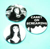 SET OF 3 FENELLA FIELDING OBE CARRY ON SCREAMING BUTTON PIN BADGES