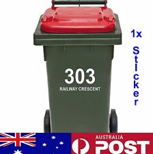 1x Rubbish Bin Sticker House Number Street Name Decal Garbage Wheelie Bin Sign