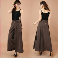 womens high-rise loose stretch wide leg long trousers bell-bottom skirt pants c9
