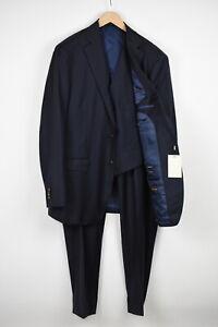 SUITSUPPLY LAZIO Men UK 52L Super 110's Pure Wool Navy 3-Piece Suit 18458