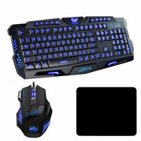 Gaming Keyboard and Colorful Optical Mouse Set 3 Colors LED Backlit Illuminated
