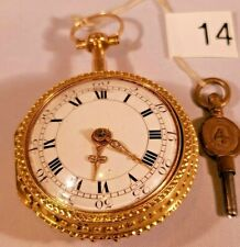 Gold Repousse Verge Fusee Pocket Watch Rare Antique Rose, Yellow And White