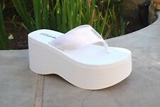 WHOLESALE LOT Women High Wedge Sandals Platform Thong Sandals 24 Prs-1088 white