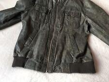 River Island Men's L Leather Biker Bomber Jacket ⭐️Distressed Look Leather ⭐️