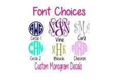 "Custom Monogram Personalized 3"" Vinyl Decal Sticker Fast Shipping!"