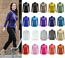 WOMENS LONG SLEEVE POLO NECK TOP LADIES TURTLE NECK TOP JUMPER SIZES 8-26
