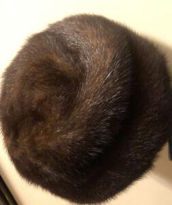 Brown Mink Fur Pillbox Hat Mid Century formal